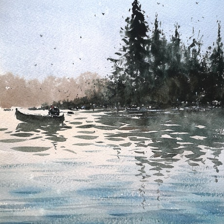 (CreativeWork) river  by jianqiang xu. Watercolour Paint. Shop online at Bluethumb.