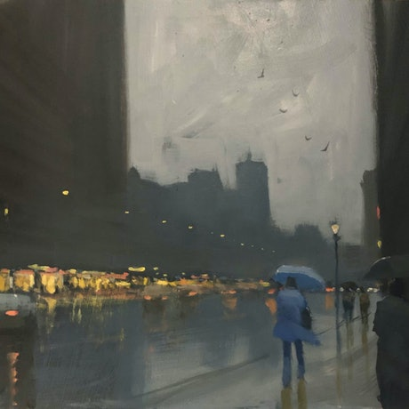 (CreativeWork) Blue Umbrella - rainy-day cityscape by Mike Barr. Oil Paint. Shop online at Bluethumb.