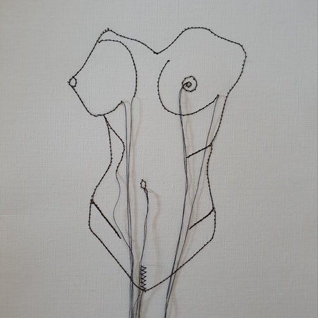 (CreativeWork) Female form torso by Jasmine Radakovic. Drawings. Shop online at Bluethumb.