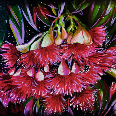 (CreativeWork) Gum Blossoms  by Rebecca Read. Acrylic Paint. Shop online at Bluethumb.