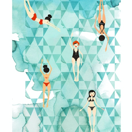 (CreativeWork) Winter Swim - 50x70 Ed. 32 of 100 by Gill Cameron  - Line for a Walk. Print. Shop online at Bluethumb.