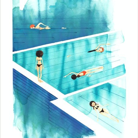 (CreativeWork) Sunday Swim - 50 x 70 Ed. 1 of 50 by Gill Cameron  - Line for a Walk. Print. Shop online at Bluethumb.