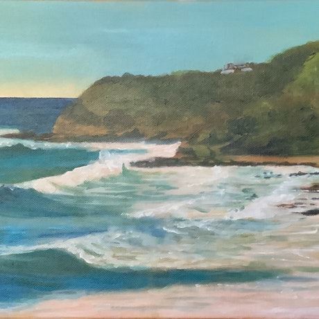 (CreativeWork) Point Perry - Coolum (panorama) click to see full painting  by Ajay Lack. Acrylic Paint. Shop online at Bluethumb.