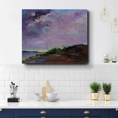(CreativeWork) Lavender Sunrise by Tania Chanter. Acrylic Paint. Shop online at Bluethumb.