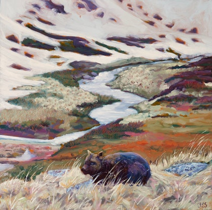 (CreativeWork) Wombat at Kosciuszko by fiona smith. Oil Paint. Shop online at Bluethumb.