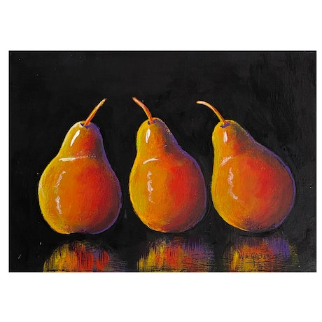 (CreativeWork) Painted Pears 2 by Wendy A. Greenwood. Acrylic Paint. Shop online at Bluethumb.