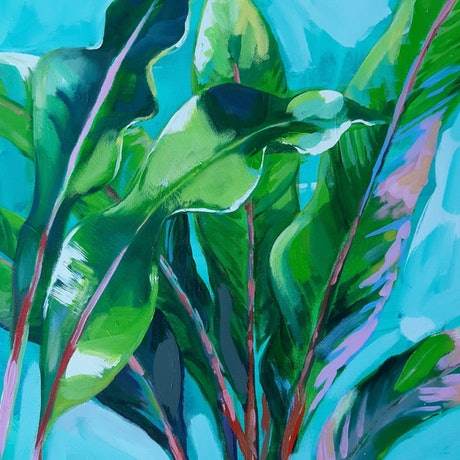 (CreativeWork) Rubilicious Leaves by Katherine Cusack. Acrylic Paint. Shop online at Bluethumb.