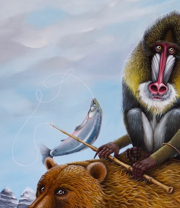 (CreativeWork) Salmon for Dinner | Brown Bear and Monkeys in Alaska | surrealism by Yulia Pustoshkina. Oil Paint. Shop online at Bluethumb.