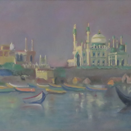 (CreativeWork) The Green Mosque ,Vizhinjam ,India by Rob Davis. Oil Paint. Shop online at Bluethumb.