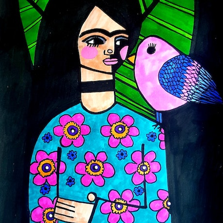 (CreativeWork) Frida Kahlo with rare bird  by jane ruggiero. Drawings. Shop online at Bluethumb.