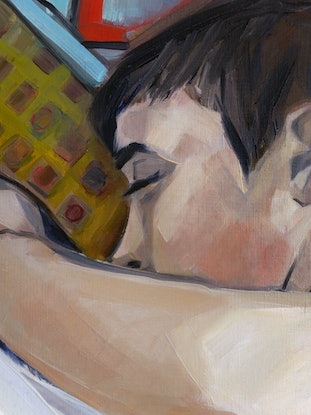 (CreativeWork) Resting nude by Liza Merkalova. Oil Paint. Shop online at Bluethumb.