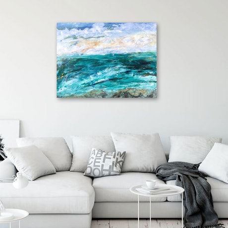 (CreativeWork) Ocean Green - textured seascape by Tina Barr. Acrylic Paint. Shop online at Bluethumb.