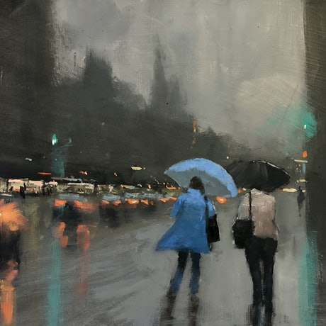 (CreativeWork) Two in the rain - rainy-day cityscape by Mike Barr. Acrylic Paint. Shop online at Bluethumb.