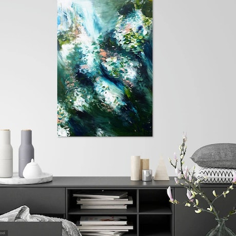 (CreativeWork) Hydrangeas Through  the Wind  by Lucile Hibbsio. Oil Paint. Shop online at Bluethumb.