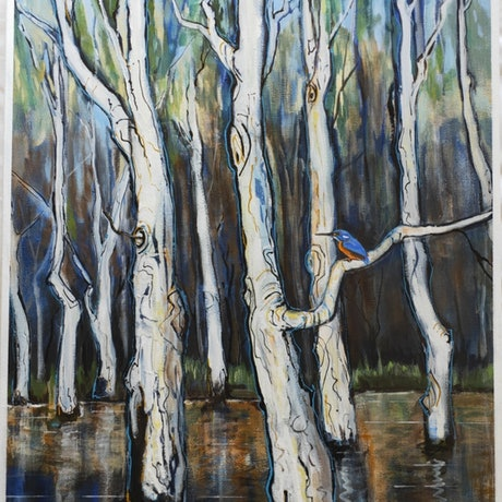 (CreativeWork) Kingfisher and Melaleuca - tree series by Lyn Watts. Acrylic Paint. Shop online at Bluethumb.