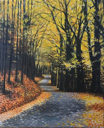 (CreativeWork) AUTUMN  ON TAMBORINE MOUNTAIN by LOUISE GROVE WIECHERS. Acrylic Paint. Shop online at Bluethumb.