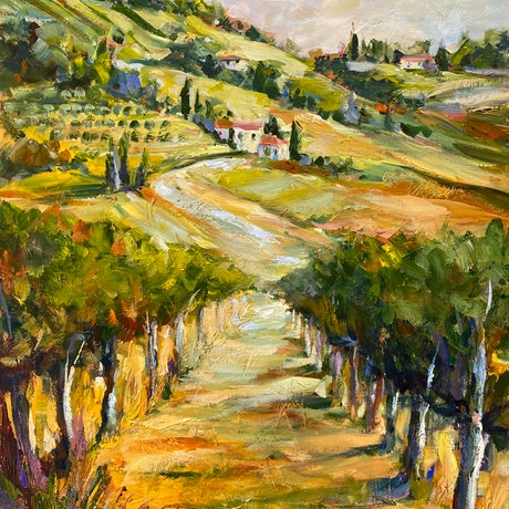 (CreativeWork) Vines and Tuscany by Ivana Pinaffo. Acrylic Paint. Shop online at Bluethumb.