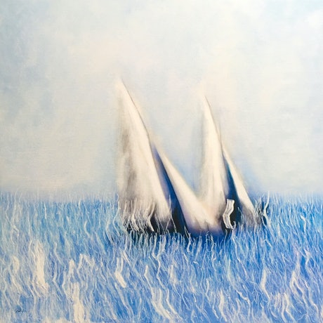 (CreativeWork) On Tack - large, yachts on the ocean, square, blue by Bruce Peebles. Acrylic Paint. Shop online at Bluethumb.