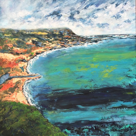 (CreativeWork) Across the Bay by Sharon DeSailly. Acrylic Paint. Shop online at Bluethumb.