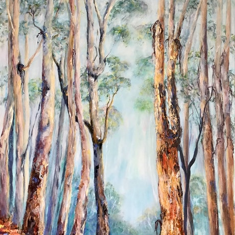 (CreativeWork) The Forest Breathes by Sharon DeSailly. Acrylic Paint. Shop online at Bluethumb.