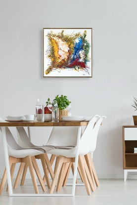 (CreativeWork) Desert Wind - small, square, red, yellow, blue, abstract desert original painting by Bruce Peebles. Acrylic Paint. Shop online at Bluethumb.
