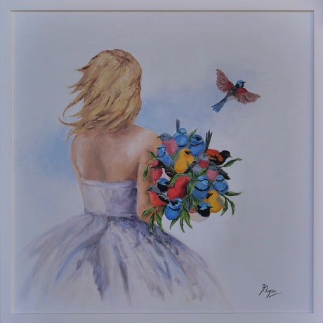 (CreativeWork) Flight-Full Bouquet (85) by Janetha Poisson Lyon. Oil Paint. Shop online at Bluethumb.