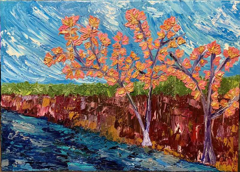 (CreativeWork) Songs of Pink Trumpet Trees by Sinèad Nunan. Oil Paint. Shop online at Bluethumb.