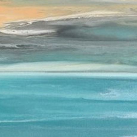 (CreativeWork) Storm at Dusk abstract ocean painting by Debra Ryan. Mixed Media. Shop online at Bluethumb.