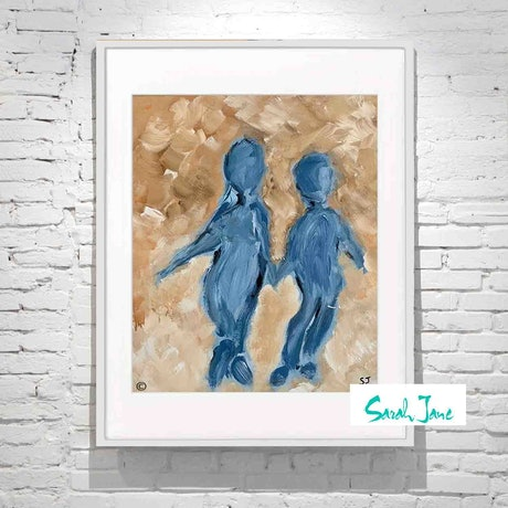 (CreativeWork) Time on My Hands II in White Frame  - Mother & Son  | By Sarah Jane 2019 Collection by Sarah Jane __. Acrylic Paint. Shop online at Bluethumb.