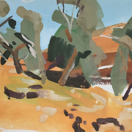 (CreativeWork) Ochre Creekbed by Lise Temple. Acrylic Paint. Shop online at Bluethumb.