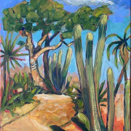 (CreativeWork) Cactus Path by Wendy Bache. Oil Paint. Shop online at Bluethumb.