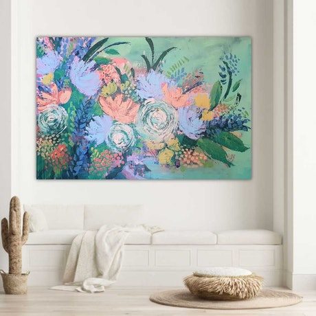 (CreativeWork) Dreamer's garden by Amy Kim. Acrylic Paint. Shop online at Bluethumb.