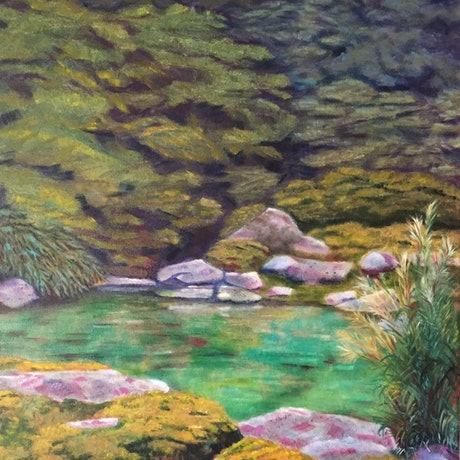 (CreativeWork) Kyoto Garden #1 by Dennis Arnold. Oil Paint. Shop online at Bluethumb.
