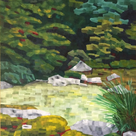 (CreativeWork) Kyoto Garden #2 by Dennis Arnold. Oil Paint. Shop online at Bluethumb.