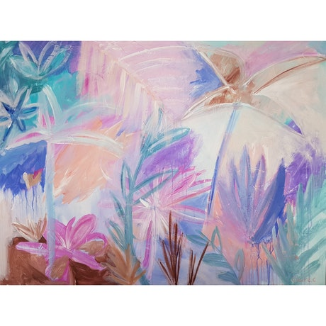 (CreativeWork) Pastel Palms  by Claire Cooper. Acrylic Paint. Shop online at Bluethumb.