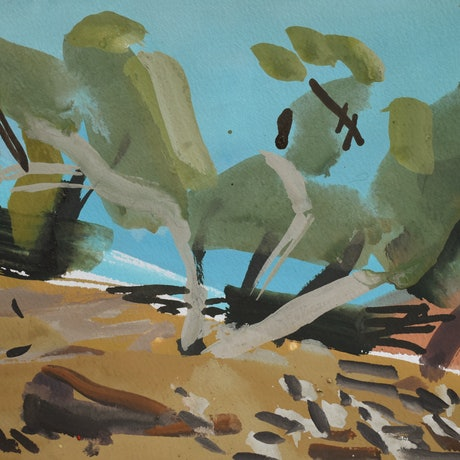 (CreativeWork) Ochre Creekbed II by Lise Temple. Watercolour Paint. Shop online at Bluethumb.