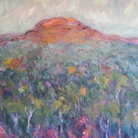 (CreativeWork) Towards Mt Banks. Blue Mountains NSW by ELAINE ROMALIS. Oil Paint. Shop online at Bluethumb.