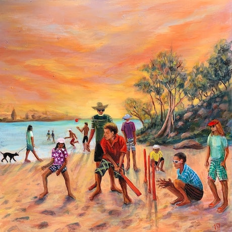 (CreativeWork) Sundowner Cricket by Sue Hill. Acrylic Paint. Shop online at Bluethumb.