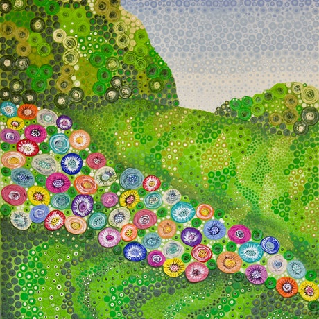 (CreativeWork) George's Meadow by Ornella Imber. Acrylic Paint. Shop online at Bluethumb.