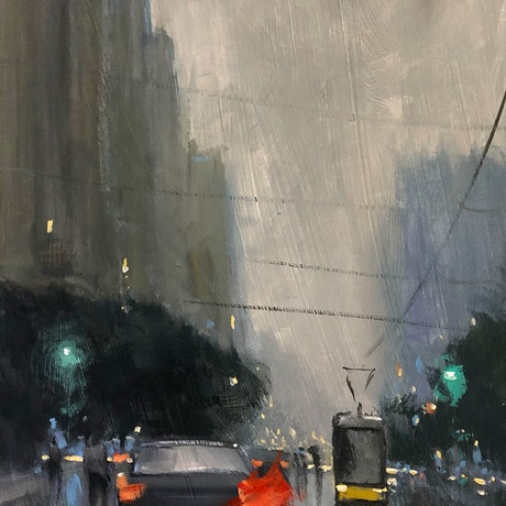 (CreativeWork) North Terrace Rain - Rainy-day cityscape by Mike Barr. Acrylic Paint. Shop online at Bluethumb.