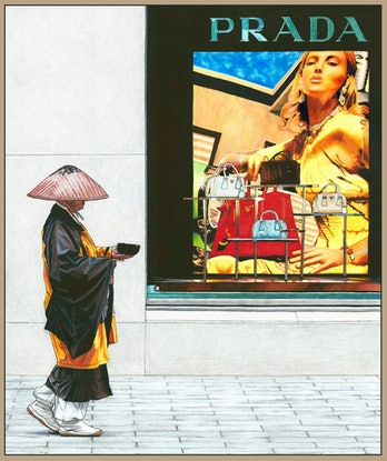 (CreativeWork) Two Worlds - Takuhatsu - HUGE CANVAS Limited Edition Print FRAMED Ed. 3 of 50 by Erin Nicholls. Print. Shop online at Bluethumb.
