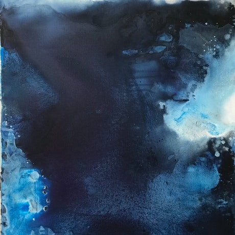 (CreativeWork) Ocean Depths Series No 4 by Kathleen Rhee. Acrylic Paint. Shop online at Bluethumb.