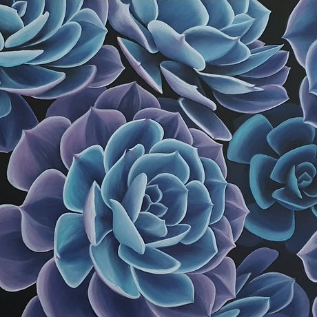 (CreativeWork) Glowing Succulents by Erin Hale. Acrylic Paint. Shop online at Bluethumb.