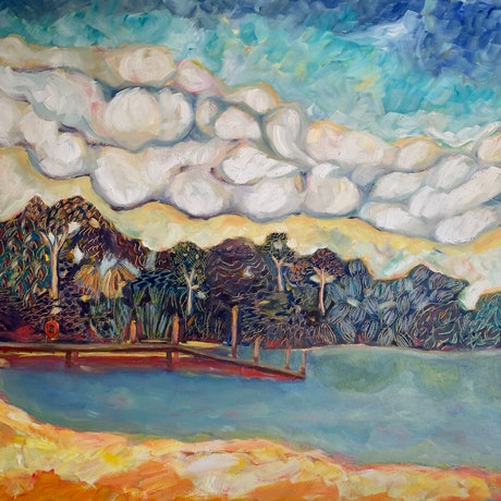 (CreativeWork) Jetty by Wendy Bache. Oil Paint. Shop online at Bluethumb.