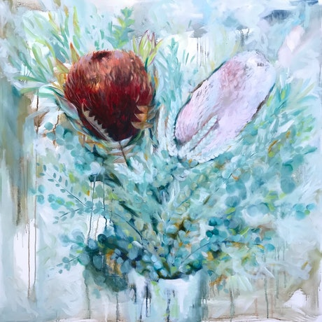 (CreativeWork) Protea Eucalyptus Vase by Karen Goddard. Oil Paint. Shop online at Bluethumb.