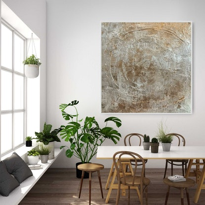 (CreativeWork) Fluid Gold_ Abstract impressionist framed art by Josephine Ann Pitsiava. Mixed Media. Shop online at Bluethumb.