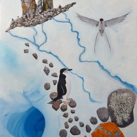 (CreativeWork) Half Moon Bay, Antarctica by Sally Forrest. Oil Paint. Shop online at Bluethumb.