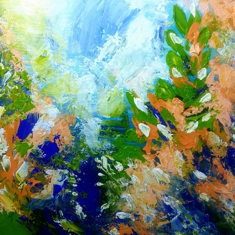 (CreativeWork) Garden Joy  by Lucile Hibbsio. Oil Paint. Shop online at Bluethumb.