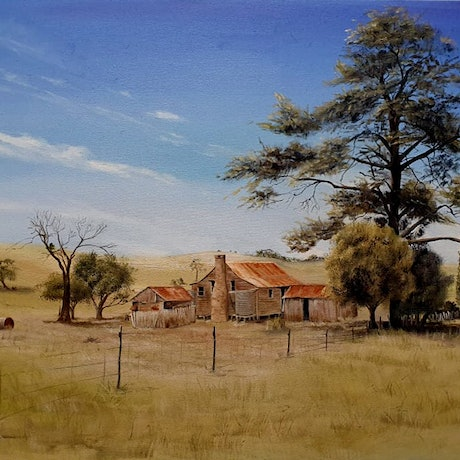(CreativeWork) Walcha Homestead by Rhonda Armistead. Oil Paint. Shop online at Bluethumb.