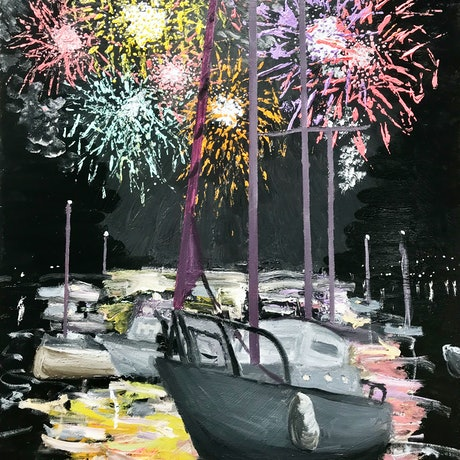 (CreativeWork) Sydney NYE Fireworks 6  by Geoff Hargraves. Oil Paint. Shop online at Bluethumb.
